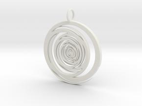 Abstract Vortex Swirl Pendant Charm in White Natural Versatile Plastic