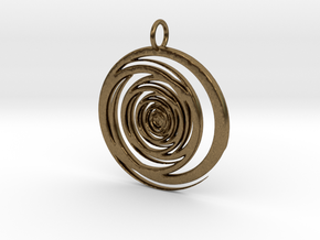 Abstract Vortex Swirl Pendant Charm in Natural Bronze