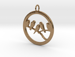 Birds In Circle Pendant Charm in Natural Brass