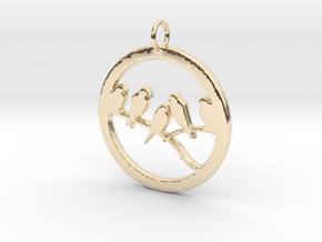 Birds In Circle Pendant Charm in 14K Yellow Gold