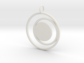 Abstract Two Moons Pendant Charm in White Natural Versatile Plastic