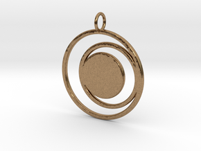 Abstract Two Moons Pendant Charm in Natural Brass
