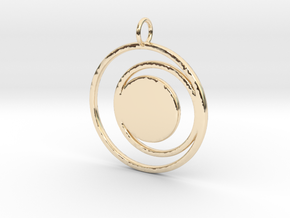 Abstract Two Moons Pendant Charm in 14k Gold Plated Brass