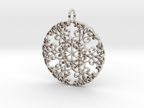 Elegant Flourish Beautiful Pendant Charm in Rhodium Plated Brass