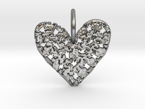 Keith Haring Heart Pendant in Raw Silver