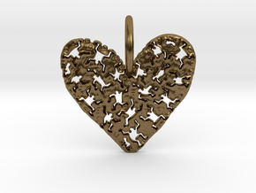 Keith Haring Heart Pendant in Natural Bronze