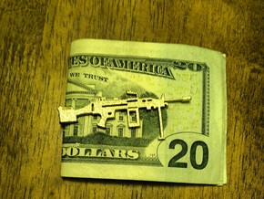 M249 SAW MONEY/TIE CLIP in Polished Gold Steel