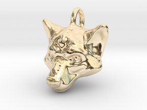 Wolf Pendant in 14k Gold Plated Brass