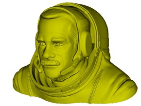 1/9 scale astronaut Chris Austin Hadfield bust in Smooth Fine Detail Plastic