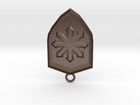 Chaos Shield Pendant in Matte Bronze Steel