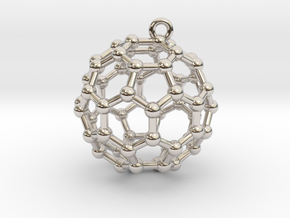 BuckyBall C60 Earring, Silver, 1.7cm in Rhodium Plated Brass