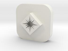 Star in Diamond Leather Stamp in White Natural Versatile Plastic