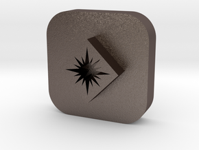 Star in Diamond Leather Stamp in Polished Bronzed Silver Steel