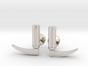 Laryngoscope cufflinks (gold + other metals) in Rhodium Plated Brass