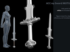 ACC-04-Sword 7inch MOTU v2.4 - Atlantean Sword in White Strong & Flexible Polished