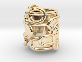 Interaction Ring - size 54 in 14k Gold Plated Brass