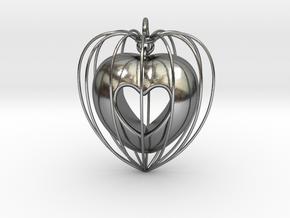 Heart Pendant in Interlocking Polished Silver