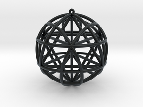 Star Tetrasphere w/nested Star Tetrahedron in Black Hi-Def Acrylate