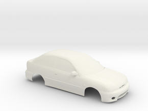 1:24 Hyundai Excel Slot Car in White Natural Versatile Plastic