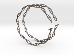 "Double Helix 75 mm (3"") Hoops in Polished Bronzed Silver Steel"