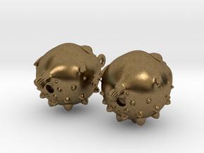 Blowfish Earrngs Hooked in Natural Bronze