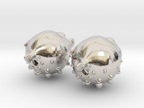 Blowfish Earrngs Hooked in Platinum
