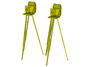 1/18 scale vintage cameras with tripods x 2 in Smooth Fine Detail Plastic
