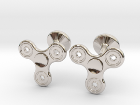 Fidget Spinner Cufflinks - SMALL in Platinum