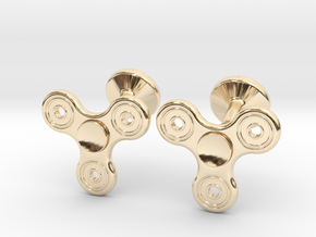 Fidget Spinner Cufflinks - SMALL in 14k Gold Plated Brass