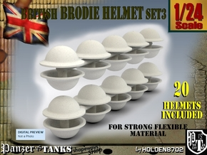 1-24 Brodie Helmet Set3 in White Natural Versatile Plastic