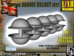 1-18 Brodie Helmet Set2 in White Natural Versatile Plastic