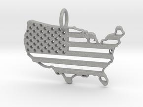 American USA Flag Map Pendant Charm in Aluminum