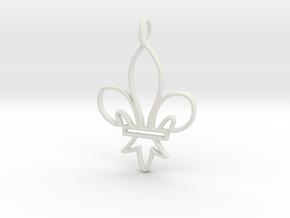 Fleur De Lis Symbol Stylized Lily Pendant Charm in White Natural Versatile Plastic