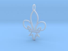 Fleur De Lis Symbol Stylized Lily Pendant Charm in Smooth Fine Detail Plastic