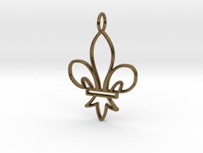 Fleur De Lis Symbol Stylized Lily Pendant Charm in Natural Bronze