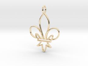 Fleur De Lis Symbol Stylized Lily Pendant Charm in 14k Gold Plated Brass