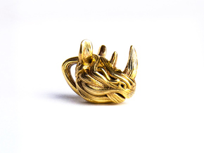Rhino Pendant - Head  in Polished Brass