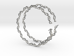 """Double Helix 75 mm (3"""") Hoops - curly in Natural Silver"""