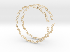 "Double Helix 75 mm (3"") Hoops - curly in 14k Gold Plated Brass"
