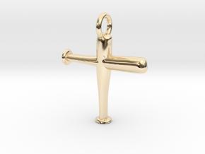 Baseball Bat Cross Pendant in 14k Gold Plated Brass