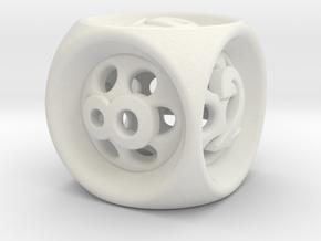 Backgammon Cube in White Natural Versatile Plastic: Large