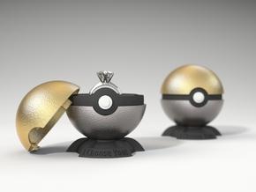 "Pokeball Pokemon Go ""Ring Box"" METALLIC TOP COVER in Polished Gold Steel"