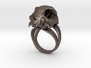 Cat Skull Ring in Polished Bronzed Silver Steel: 6 / 51.5