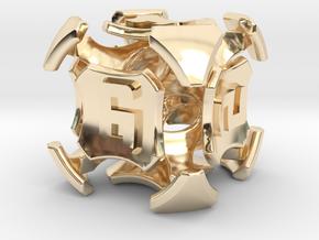 Quantum Dice D6  in 14K Yellow Gold