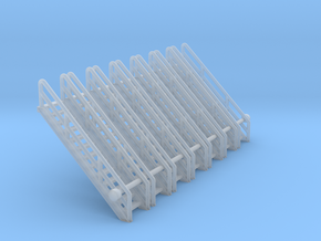 N Scale Stairs 13 (7pc) in Smooth Fine Detail Plastic