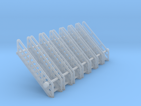 N Scale Stairs 11 (7pc) in Smooth Fine Detail Plastic