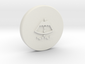 Washer cap with logo Part 2/2 in White Natural Versatile Plastic