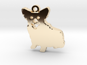 Smiling Corgi (with ring) in 14k Gold Plated Brass