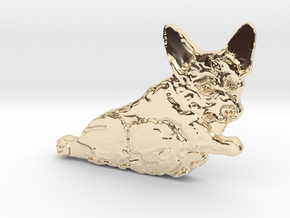 Corgi Consideration of Action in 14k Gold Plated Brass