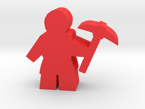 Game Piece, Worker with pickaxe in Red Processed Versatile Plastic